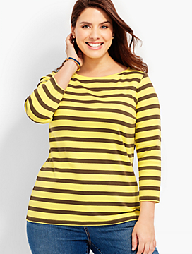 Three-Quarter-Sleeve Bateau Neck Tee - Livingston Stripes - The Talbots Tee