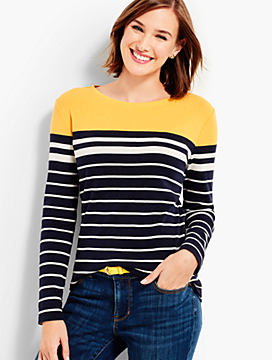 Long-Sleeve Crewneck Tee-Drayton Stripes