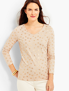 Long-Sleeve V-Neck-Tossed Hearts- The Talbots Tee
