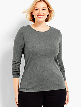 Long-Sleeve Heather Crewneck Tee-The Talbots Tee