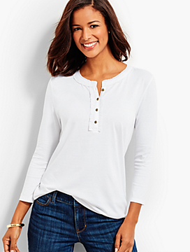 Three-Quarter-Sleeve Ruffle-Neck Henley