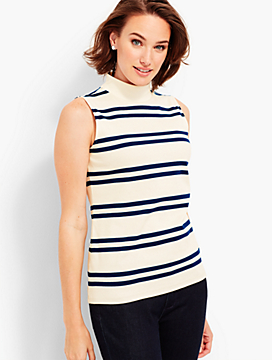 Sleeveless Mock-Neck Tee - Camden Hill Stripes