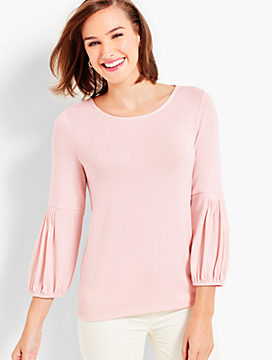 Gathered-Sleeve Jersey Top
