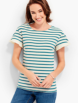 Flutter-Sleeve Tee - Crofton Stripes