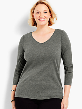 Cotton Long-Sleeve Heather Tee-The Talbots Tee