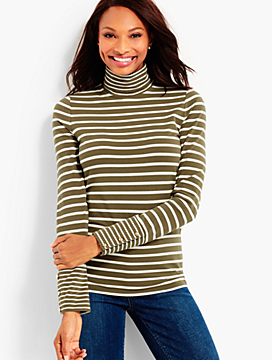 Long-Sleeve Stripe Turtleneck