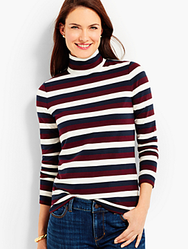 Long-Sleeve Stripe Turtleneck-Autumnal Stripe