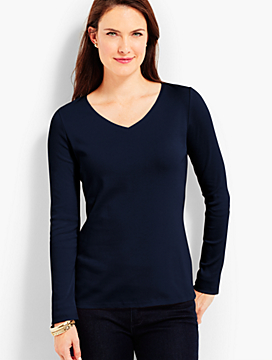 Pima Cotton Long-Sleeve V-Neck Tee