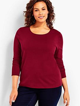 Pima Cotton Long-Sleeve Scoopneck-The Talbots Tee