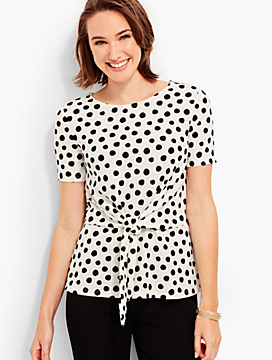Front-Tie Crepe-Knit Top - Polka Dots