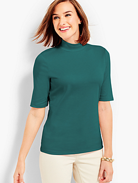 Elbow-Sleeve Mockneck Tee