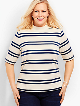Womans Exclusive Mock Neck Shirt - Stripes