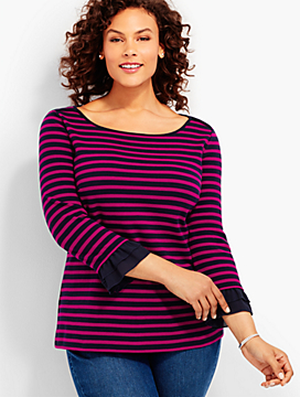 Three-Quarter-Ruffle-Sleeve Stripes Tee