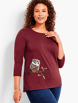 Shimmery Sequin Owl Tee