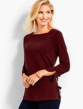 Three-Quarter-Sleeve Envelope Neck Tee