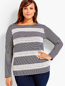 Lace-Trimmed Tee - Plainfield Stripes