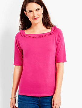 Ruffle Square-Neck Elbow-Sleeve Tee