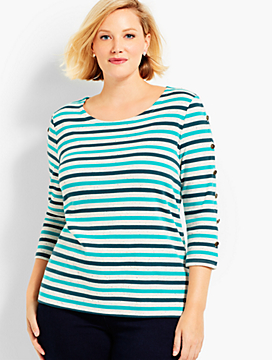 Womans Exclusive Birchwood Stripe Button-Sleeve Tee