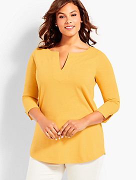Womans Exclusive Three-Quarter-Sleeve Split-Neck Tunic