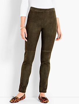 Suede Slim Ankle Pants
