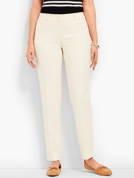 Talbots Hampshire Straight-Leg Ankle - Double-Cloth Ivory - Curvy Fit