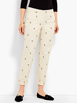 Kitten-Embroidered Weekend Chino Ankle