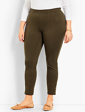 Ponte Button Skinny Ankle Legging