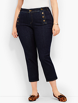 Sailor-Button Slim Crop - Campbell Wash