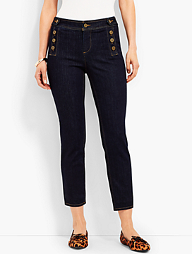 Sailor-Button Slim Crop-Campbell Wash