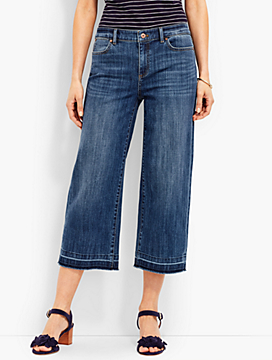 Frayed-Hem Denim Wide Crop-McCully Wash