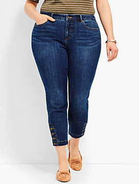 Four-Button Denim Slim Ankle - Georgia Wash