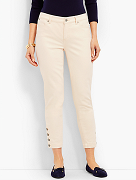 Four-Button Denim Slim Ankle - Natural