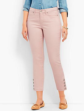 Four-Button Denim Slim Ankle-Cuvry Fit/Light Rosewater