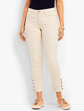 Four-Button Denim Slim Ankle - Natural - Curvy Fit