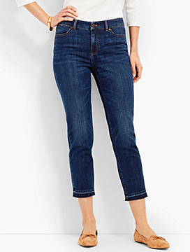 Frayed-Hem Denim Slim Crop-Sierra Wash