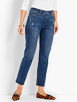 Frayed-Hem Straight-Leg - McCully Wash