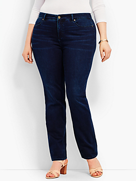 Womans Exclusive Luxe Stretch Denim Straight-Leg - Biscay Wash