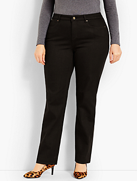 Womans Exclusive Luxe Stretch Denim Straight Leg - Black