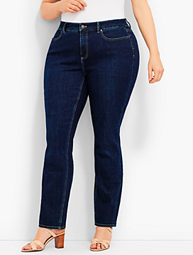 Womans Exclusive Luxe Stretch Denim Straight-Leg - Curvy Fit/Benning Wash