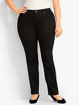Womans Exclusive Luxe Denim Straight-Leg -Curvy Fit/Black