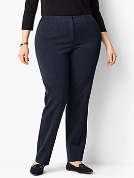Womans Exclusive Refined Bi-Stretch Tailored Straight-Leg - Curvy Fit