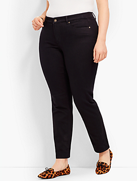 Plus Size Exclusive Comfort Stretch Denim Slim Ankle Jeans-Black