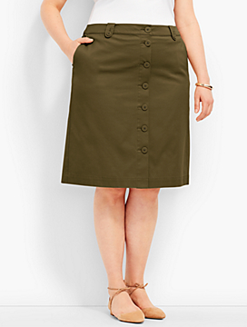 Anchor Button A-Line Skirt - Chino