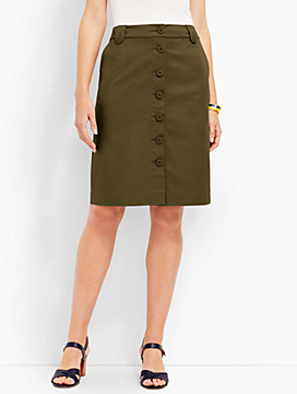 Anchor Button Twill A-Line Skirt