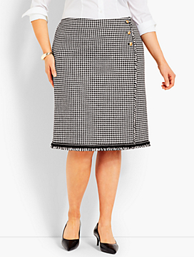 Check Tweed Wrap Skirt
