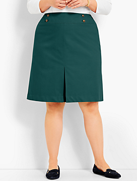 Raised Twill Pleated A-Line Skirt