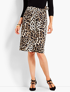 Animal-Print Faux-Wrap Skirt