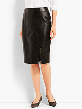 Leather Front Zip Pencil Skirt
