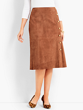 Suede Gold-Button Skirt