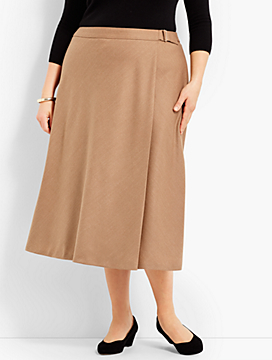 Italian Flannel Faux-Wrap Skirt